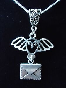 HARRY POTTER OWL POST/ HEDWIG NECKLACE. STERLING SILVER CHAIN OPTION. GIFT BOXED