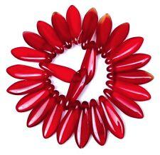 25 Czech Glass Dagger Beads - Siam Ruby 16mm