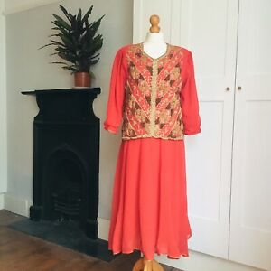 Vintage 70s 80s Red Gold Heavily Beaded Sequin Floaty Indian Boho Hippy Dress 14