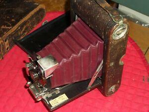 Vintage Camera No.3 Folding Pocket Kodak Camera red bellows, original case