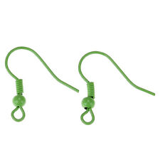 100PCs BD Copper Ear Wire Hooks Earring Findings W/Ball Green