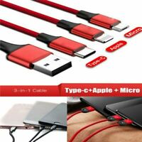 3 in 1 Micro USB/Lightning/Type C Charging Data Sync Cable Various Phones FAST