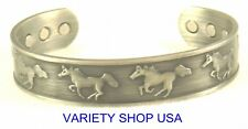 Horse Themed Pure Copper Wide Antique Silver Magnetic Cuff Bracelet CMHORSE-AS