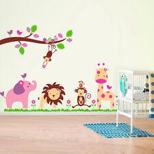 Zoo Jungle Elephant Monkey Trees Wall Stickers art Children Nursery Kids Girls