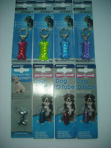 Ancol Dog ID Tag / Tube - Reflective and Non-Reflective in Red, Purple, Blue