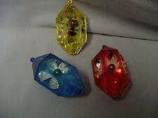 """Christmas Tree Ornament 3 Plastic Shadow Box Jewel Brite 3""""x1.75"""" Retro #2"""