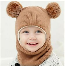 Kids Winter Hats Ears Girls Boys Children Warm Caps Scarf Set Baby Bonnet Enfant