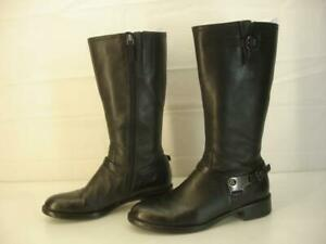 Women's 7 7.5 38 ECCO Hobart Harness Boots Black Leather Knee High Riding Zipper