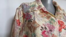 New NWOT Coldwater Creek sheer floral beige button shirt tunic xl large