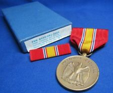 WWII National Defense Medal and Ribbons In Original Box by Smilo
