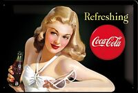 Coca Cola Refreshing (lady in white) embossed metal sign (na 3020)
