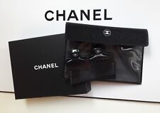Chanel Beaute Small Black Hair Claw Clips Shimmer Black Pouch Set NIB