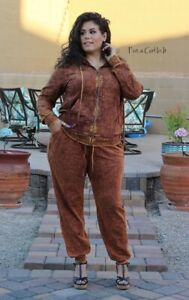 PLUS SIZE Womens RUST MINERAL TIE DYED HOODIE SWEATSUIT JOGGER SET 1X 2X 3X