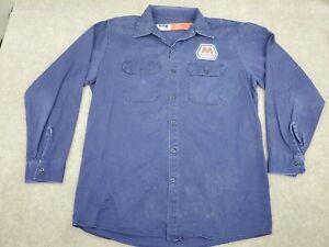VTG Bulwark FR Men's Large Reg Long Sleeve Work Button up Shirt Marathon Oil Gas
