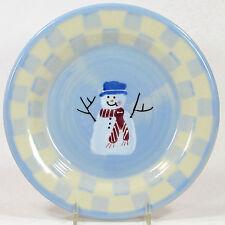 "Hartstone Pottery SNOW PEOPLE 8"" Salad Dessert Plate Snowman Bird Double Check"