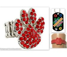 a Pawsome Friend Dog Fun Gift Bundle Paw Print Red Rhinestone Ring Bracelet Be