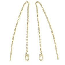 "Gold Plated Sterling Silver Dangle Earring Cable Chain Ear Thread 3.6"" #99668"