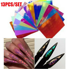 13Pcs Holographic Laser Decal Geometric Totem Nail Stickers Manicure Accessoires