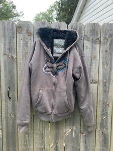 FOX RACING Sasquatch Faux Fur Lined Jacket Zip Up Heavy Hoodie Men's  Large