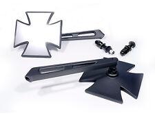 Spiegel Set 2 Stück schwarz black Iron Cross Malteser für Harley-Dyna Motorrad