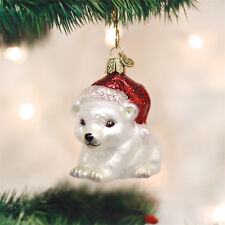 Christmas Polar Bear Cub Glass Ornament