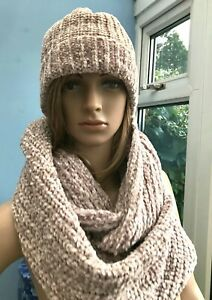 Muk Luks Beige Knitted Beanie Hat and Circular Scarf One Size