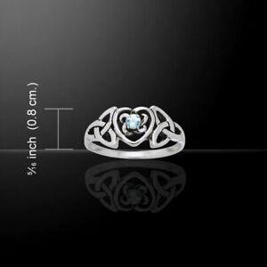Heart Birthstone Aquamarine Ring .925 Sterling Silver Peter Stone Fine Jewelry