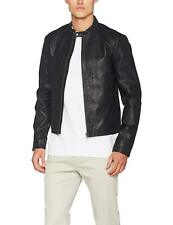 Jack and Jones Mens Black Biker Leather Jackets Solid Full Zip Long Sleeve Coats