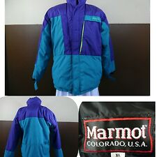 VTG Marmot Block Color Goose Down SKI COAT JACKET Snow Teal Purple Lime XL