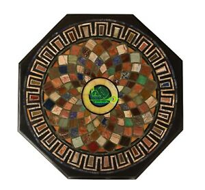 """24"""" Marble Center Table Top Multi Stones Mosaic Inlay Garden And Home Interior"""