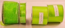 "Lot of 4 brand new sealed bolts of ribbon lime green sheer 7/8"" & 2 1/2"" wide"