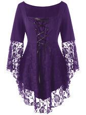 Damen Gothic Steampunk ausgestellte Ärmel Übergröße locker t-shirt Oberteile
