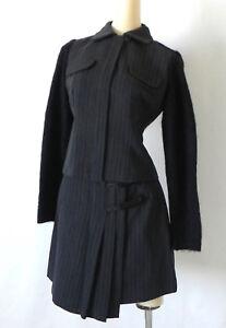 Vtg Marina Spadafora Italy Skirt Suit Wool Blend Gray/Black Size 6(Fits S)