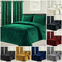 Crushed Velvet Duvet Cover Double King & Matching Eyelet Ring Top Pair Curtains