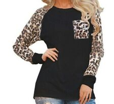 OMSJ Woman Leopard Long Sleeve Shirt Top Sz L New