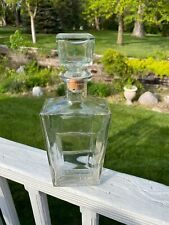 """Vintage 11"""" Clear Glass  Decanter Bottle with Cork & Glass stopper D 2306"""