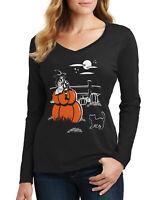 Threadrock Women's Gazing Witch Halloween Scene Long Sleeve V-Neck T-Shirt