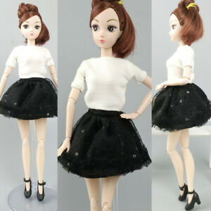 Doll Clothes For Barbie Doll Outfits White Top Shirt Black Skirt For Blyth Licca