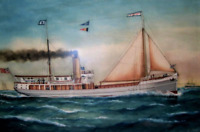"high quality oil painting 100% handpainted on canvas ""steamer on the sea """