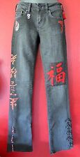 Women's ASIAN Inspired Black Jeans w Red Chinese Characters,Cherry Tree,Yin Yang