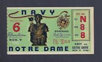 VINTAGE 1940 NOTRE DAME FIGHTING IRISH @ NAVY MIDSHIPMEN FOOTBALL TICKET STUB
