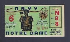 VINTAGE 1940 NOTRE DAME FIGHTING IRISH @ NAVY MIDSHIPMEN FOOTBALL TICKET STUB