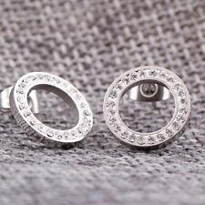Rhinestone Stainless Steel Silver Circle Shining Ear Stud Earrings Women Jewelry