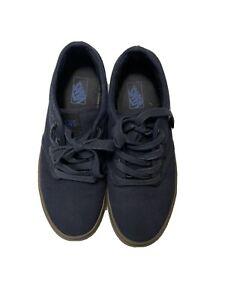 vans low top size 5.5 youth boy, girl, unisex, blue, navy, tan, brown