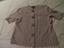 Woman's size Large Short Sleeve Light Brown Josephine  Chaus Petite Sweater Top