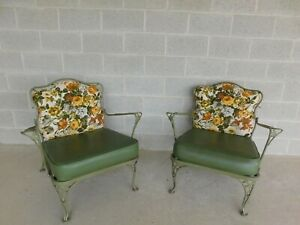 Vintage Russell Woodard Wrought Iron Club Chairs - a Pair