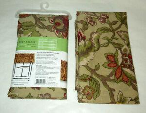 Ellery top it off Valance 72 x 18 Green Floral Jacobean Antique x2