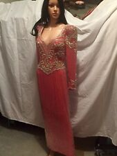 Heaven Sent Creations Coral Salmon Beaded Long Sleeves Pageant Formal Dress 10