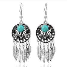 Alloy Turquoise Nation Earrings Leaf Drop EarringsRetro Antique Silver Jewelry