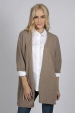 Marron Camel Cashmere Duster Cardigan Sweater femmes MADE IN ITALY